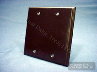 New Leviton Brown 2-Gang Blank Cover Thermoset Plastic Wallplate Box Mount 85025