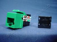 Leviton Green Keyed Cat 3 Snap-In Quickport Data Voice Jack Cat3 RJ45 Telephone 41108-KV3