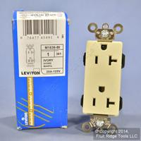 Leviton Ivory LEV-LOK Decora INDUSTRIAL Outlet Duplex Receptacle 20A M1636-BI