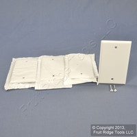 4 Leviton Residential White Standard 1-Gang Blank Cover Box Mount Wallplates 88014