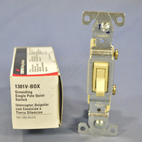 Cooper Wiring Devices Ivory Toggle Wall Light Switch Quiet Single Pole 15A 120V 1301V