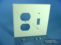 Leviton Almond Midway UNBREAKABLE Toggle Switch Duplex Outlet Cover Wallplate PJ18-A