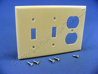 Eagle Ivory 3-Gang Toggle Switch Cover Duplex Receptacle Outlet Wallplate 2158V
