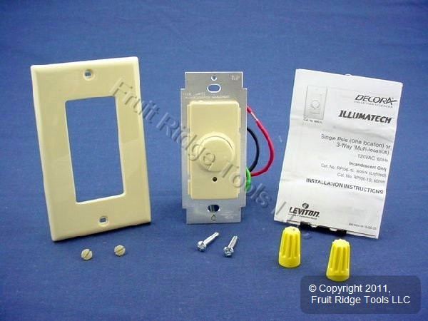 3 Leviton Ivory Decora Rotary Dimmer Switches Push ON//OFF 3-Way RPI06-IWP