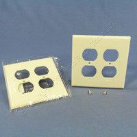 2 Eagle Almond Mid-Size 2-Gang Receptacle Thermoset Wallplate Outlet Covers 2050A