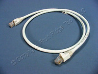 Leviton White 3' Cat 6+ Extreme Ethernet LAN Patch Cord Cable Cat6 Plus 3 Ft 62460-3W