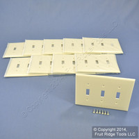 10 Leviton Almond 3-Gang MIDWAY UNBREAKABLE Nylon Toggle Switch Wallplate Covers PJ3-A