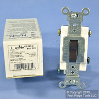 New Leviton Brown 3-Way COMMERCIAL Toggle Wall Light Switch 20A CS320-2 Boxed