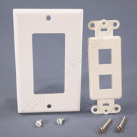 Eagle White 2-Port Decorator 110 Style Modular Mounting Strap Wallplate 5522W