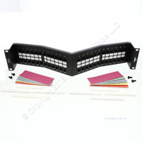 Leviton GigaMax Cat 5e+ QuickPort Angled Patch Panel 48-Port Rack Mount 5W271-U48