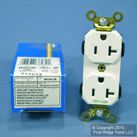 Leviton White LEV-LOK INDUSTRIAL Receptacle Duplex Outlet Brass Ears 20A M5362-W