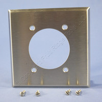 "Eagle NON-MAGNETIC Stainless Steel 2-Gang 2.2813"" Receptacle Wallplate Outlet Cover Dryer Range Welder 93228"