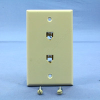 Leviton Almond 2-Line Phone Jack Flush Mount 6-Position Wallplate Telephone Type 625B3 40244-A