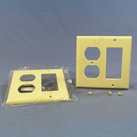 2 Cooper Ivory Decorator GFCI GFI & Duplex Receptacle Thermoset Wallplate Outlet Covers 2157V