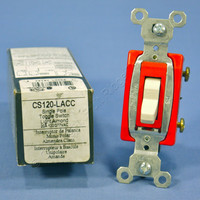 Pass & Seymour Light Almond COMMERCIAL Toggle Light Switch 20A CS120-LA Boxed