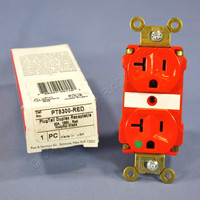 Pass & Seymour RED PLUGTAIL HOSPITAL GRADE Receptacle Duplex Outlet 20A PT8300-RED