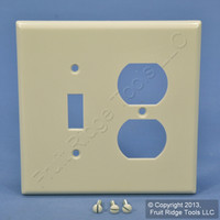 Leviton Light Almond 2-Gang Midway Toggle Switch Outlet Cover Wallplate 80505-T