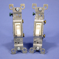 2 Leviton Almond Toggle Wall Light Switches Single Pole 15A 120V Bulk 1451-2A