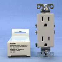 Cooper Aspire White Satin (Pale Gray) Decorator Receptacle Duplex Outlet NEMA 5-15R 15A 125V 9505WS