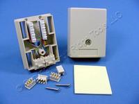 Leviton DUPLEX Ivory Surface Mount Modular Phone Jack 110-Type Termination Type 104 8-Wire USOC 41048-IDA