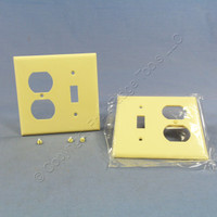 2 Cooper Ivory Switch Plate Receptacle Outlet Cover Thermoset Wallplate Switchplates 2138V