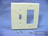 Leviton Almond Combination Toggle Switch Plate Decora GFCI Receptacle Wallplate Cover PJ126-A