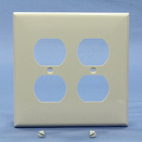 Leviton Light Almond LARGE UNBREAKABLE Receptacle Wallplate 2-Gang Duplex Outlet Cover PJ82-T