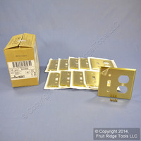 10 Leviton Satin Solid BRASS Switch Plate Receptacle Outlet Cover Wallplates Switchplate 81005