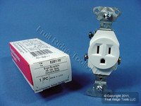 10 Pass & Seymour White Specification Grade Receptacles Single Outlet 15A 5251-W