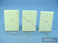 "3 Leviton Ivory MIDWAY 1-Gang Phone Radio Cable Wallplates .312"" Opening 80513-I"