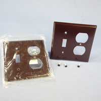 2 Eagle Brown 2-Gang Toggle Switch Receptacle Outlet Cover Thermoset Wallplate Switchplates 2138B