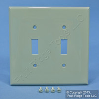 Leviton Gray 2Gang Midway UNBREAKABLE Toggle Switch Nylon Cover Wallplate PJ2-GY