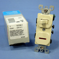 Leviton Ivory Commercial Toggle Wall Switch 15A w/Pilot Light 5226-I-041 Boxed