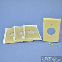 "4 Leviton Ivory 1.406"" Receptacle Wall Plates Single Outlet Plastic Cover 86004"