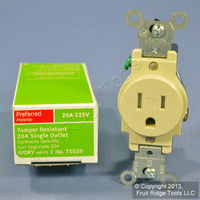 Leviton Ivory TAMPER RESISTANT COMMERCIAL Single Outlet Receptacle 20A T5020-IS