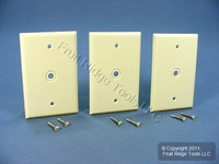 "3 Leviton Almond MIDWAY 1-Gang Phone Radio Cable Wallplates .312"" Opening 80513-A"