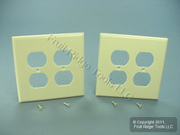 2 Leviton MIDWAY 2-Gang Almond Duplex Receptacle Wallplate Outlet Covers 80516-A