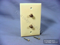 Leviton Almond Dual Coaxial Cable CATV Wallplate Duplex Video Jack Cover 80782-A