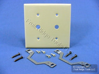 "Leviton Ivory 2-Gang .406"" Telephone Cable Outlet Phone Wallplate Strap Mount P22-I"
