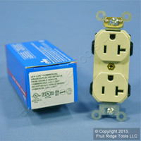New Leviton Ivory LEV-LOK INDUSTRIAL Receptacle Duplex Outlet 20A M5362-SI