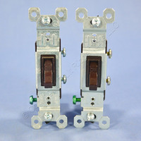 2 Pass & Seymour Brown RESIDENTIAL Toggle Wall Light Switches 15A 120V 660-G Bulk