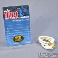 "Leviton White 18"" Coaxial F-Type Video Cable w/ Gold Connectors RG59 C5851-1GW"
