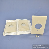 "3 Leviton Light Almond 1.406"" UNBREAKABLE Receptacle Wallplate Outlet Covers 80704-T"
