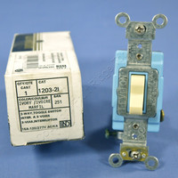 New Leviton Ivory INDUSTRIAL Toggle Wall Light Switch 3-Way 15A 1203-2I Boxed