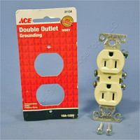 Ace Wiring Residential Ivory Duplex Receptacle Outlet NEMA 5-15R 15A 125V 31134