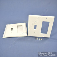 2 Leviton White Thermoplastic Combination Switch Plates Decora GFCI Cover Nylon Wallplate GFI 80707-W