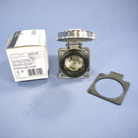 Leviton Stainless Steel INDUSRIAL Turn Twist Locking Flanged Inlet Receptacle NON-NEMA 50A 125V 6372-CR