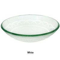 Decolav White Etched Art Glass Vessel Sink Bathroom Vanity Bowl 1020-WH