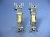 2 Leviton Ivory Framed Toggle Wall Light Switches Single Pole 15A 120V 1451-2I Bulk