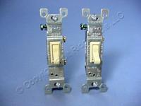 2 Leviton Ivory Framed Toggle Wall Light Switches Single Pole 15A 120V 1451-2I Bulk